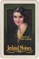 Playing Cards 1 Swap Card - Vintage LEYLAND MOTORS Car Advert FLAPPER GIRL Lady