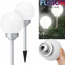 2 X LARGE LED SOLAR POWERED WHITE GLOBE BALL GARDEN LIGHTS STAKE POST LIGHTS