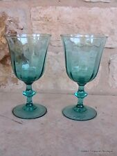 Luminarc Turquoise Teal Swirled 2 Water/Tea Glasses Goblets France