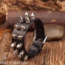 Men's Goth PUNK Metal Stud Spike Rivet Leather Bangle Cuff Bracelet Wristband