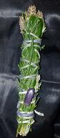 "Cedar, Rosemary, Bay, Lavender,Amethyst Incense Smudge Stick 4-5"", Magic, Reiki!"