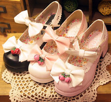 Lolita Girls Cute Bowknot Shoes Strawberry Bell Mary Janes Round Toe Women Shoes