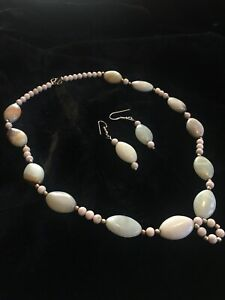 Rare South American Green Amber & Sterling Silver Necklace/Earrings Set