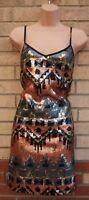 MISS SELFRIDGE BRONZE SILVER SEQUINS SHIFT SLIP TUNIC TRIBAL PARTY CAMI DRESS 10