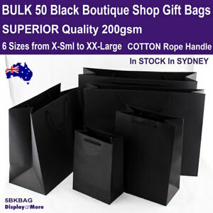 Paper Bag BLACK | 50pcs | Gift SHOP Event Ceremony | 6 Sizes | AUSSIE Seller