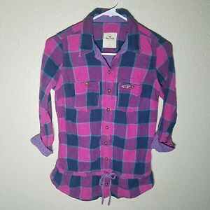 Hollister Tunic Top S Plaid Roll Up Sleeve Tie Waist Collared Button Logo Blue