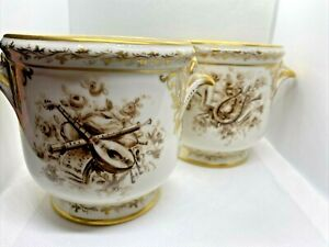 Pair of Antique French Hand Painted Floral Porcelain Flower Cache Pots Gold GILT