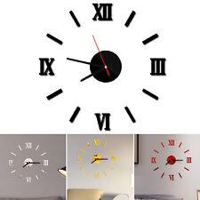 Modern DIY Wall Clock 3D Mirror Surface Sticker Art Design Home Office Decor
