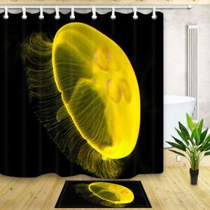 Marine jellyfish on black Bathroom Waterproof Fabric ShowerCurtain& 12 Hooks