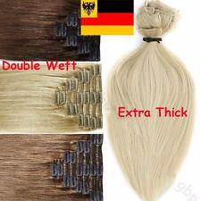 Doppelt Clip in DICK Echthaar Haarverlängerung Hair Extensions 160g+ 60cm hcysz