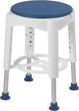 Drive Medical RTL12061 Bath Stool With Padded Rotating Seat,White with Blue Seat