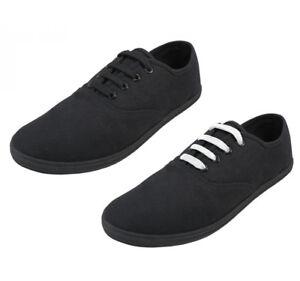 Men's Casual Canvas Lace Up Cotton Shoes Rubber Sole Black Sizes 7-13 New