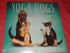 """Brand New Sealed = Yoga Dogs dog Together Wall Calendar 2021 16 Month = 12"""""""