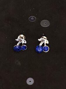 Vintage Style Silver & Blue Diamanté Cherry Earrings. Novelty Fruit Jewellery