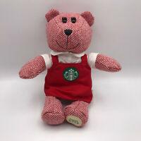 "Starbucks Bearista Bear Plush Red White Apron Employee 10"" Stuffed Animal 2016"