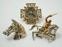 Vintage Gifts Cross Horse Knight brooches pins Antique gold silver jewelry 1960s