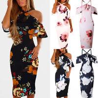 Women Off Shoulder Short Sleeve Evening Party Long Maxi Dress Beach Sundress