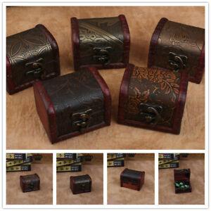Decorative Vintage Trinket Boxes Small Wooden Treasure Chest Storage Jewelry Box