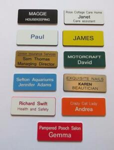 5 Personalised name badges engraved acrylic shop clubs pub schools offices work