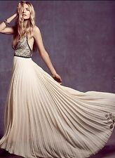 NEW Free People ivory black Belle Of The Ball Embroidered Maxi Dress Gown 2
