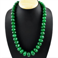 880.35 CTS NATURAL RICH GREEN EMERALD ROUND SHAPE FACETED HUGE BEADS NECKLACE