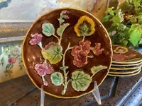S/6 Small Vintage English Pottery Majolica Floral Design Plates 6.5 inches