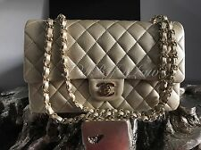 NWT CHANEL 2016 Classic Medium Large Flap Pearly Caviar Iridescent Gold 16B NEW