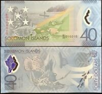 SOLOMON ISLANDS 40 DOLLARS ND 2018 POLYMER COMM. P 37 TDLR UNC