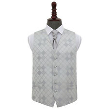 DQT New Jacquard Diamond Pattern Vest Formal Wedding Mens Waistcoat Cravat