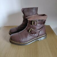 Dr Martens AirWair KRISTY Brown Leather Slouch Buckle Biker Boots UK 7 EU 41