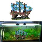 Aquarium Ornament Wreck Sailing Boat Sunk Ship Destroyer Fish Tank Cave Decor VF