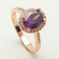 Size 7 Oval Purple Cubic Zircon Rose Gold Plated  Ring+gift pouch (8420)