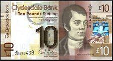 2009 clydesdale bank plc BANCONOTA £ 10 * Con JD 096438 * AUNC *
