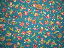 FLORAL Vtg FEEDSACK Quilt Sewing DollClothes Craft Fabric Teal PinkYellow