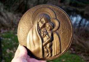 wunderschönes Bronzebild Rellief Maria mit Kind signiert Fehlberg Künstlerarbeit