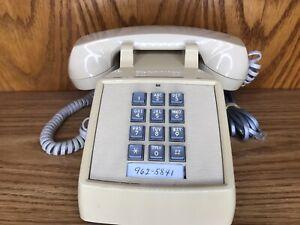 Vintage ITT Touch Tone Push Button Telephone Desk Phone - Beige Tan - Clean