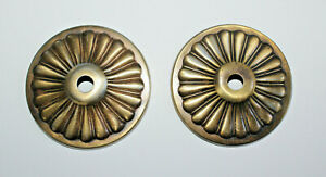"""2 Vintage Brass or Bronze Round Raised Ribbed Backplates Escutcheons 3 3/8"""""""