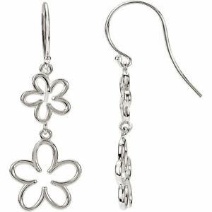 Flower Dangle Earrings In 14K White Gold