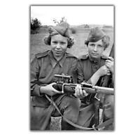 Photo Soviet women snipers at war Nice Girl in soviet uniform WW2 4x6 M