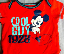authentic DISNEY BABY RED MICKY MOUSE (COOL GUY 1928) ONE-PIECE BOY'S SIZE 0-3 M