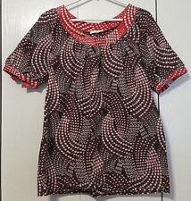 Womens Promod Size US 8 UK 12 Brown Polkadot Cotton Blouse Shirt Top Mod Boho