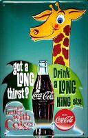 Coca Cola Giraffe Geprägte Stahl Zeichen 300mm X 200mm (Hi )
