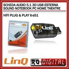 HOME THEATRE HIFI PLUG & PLAY  SCHEDA AUDIO 5.1 3D USB ESTERNA SOUND NOTEBOOK PC