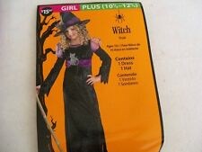 NEW Girls Witch Costume Plus  10 1/2  to 12 1/2 Dress & Hat