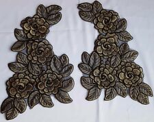 Large Pair Gold Black 3D Floral Embroidery Appliques Motifs Lace Sewing  EB0293