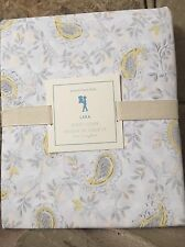 NEW RARE POTTERY BARN KIDS LARA GRAY YELLOW PAISLEY FLORAL TWIN DUVET COVER
