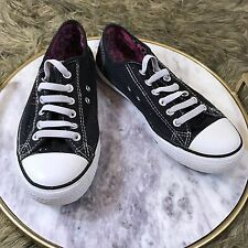 Women's Rock Star Sz 6 M Black and White Pull On Canvas Active Sneaker Shoes