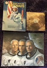 "WALTER CRONKITE ""MAN ON THE MOON"" 45 RECORD + WONDER BOOK ASTRONAUTS & POSTER"