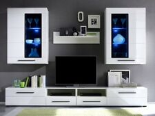 Living Room Furniture Set Glass Cabinet Cupboard Tv Unit Display Stand White led
