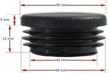 Plastic Round End Cap Flat Top for Tube Size 50mm Dia - Pack of 5 Pcs
